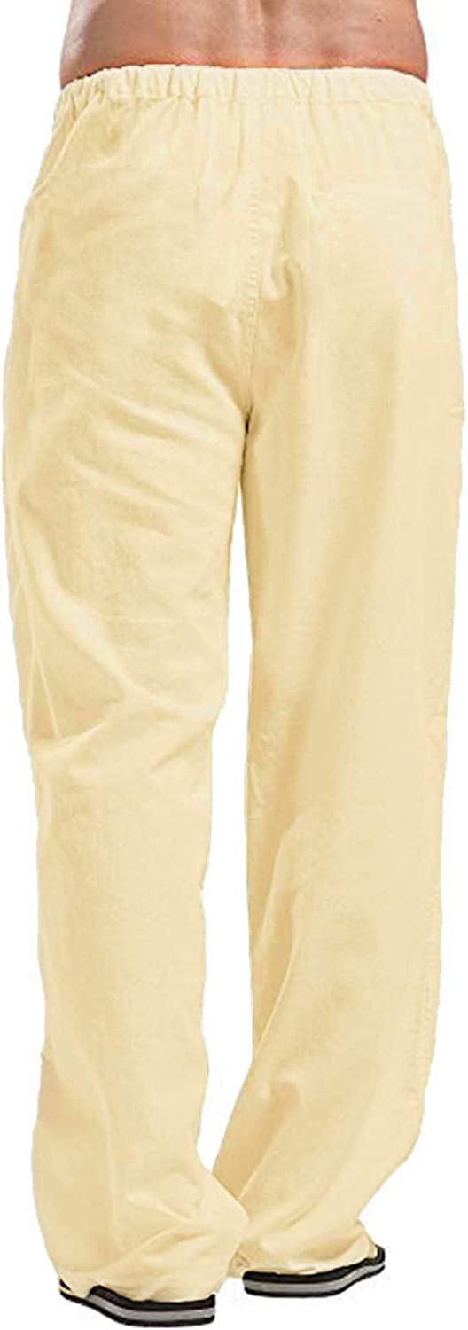 Oyamiki Mens Linen Relaxed-Fit Elastic Waist Straight Pants Loose Beach Pant with Drawstring
