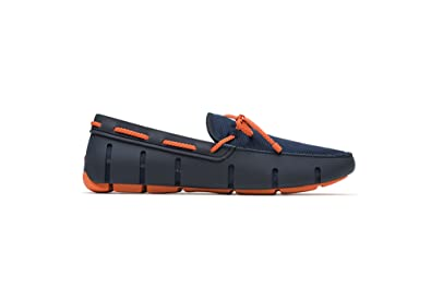 SWIMS Braided Lace Loafer in Navy/Orange, Size 7