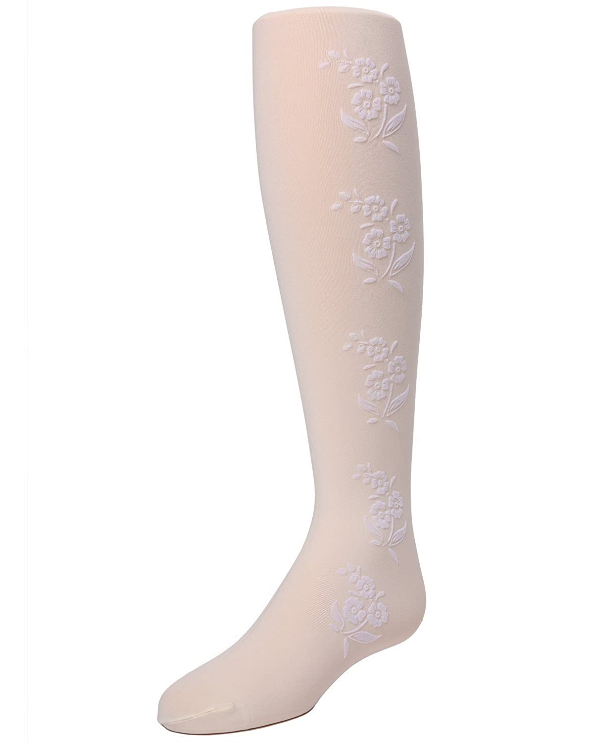 Tights for Girls MeMoi Flocked Fabric Floral Tights