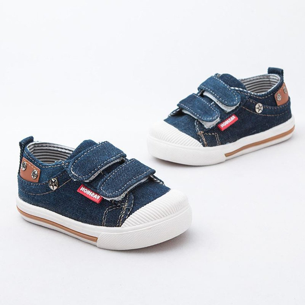 FALAIDUO Child Girl Boy Canvas Striped Shoes Flat Letter Rivet Velcro Soft Sole Plimsoll Shoes Toddler Shoes Casual Sneaker