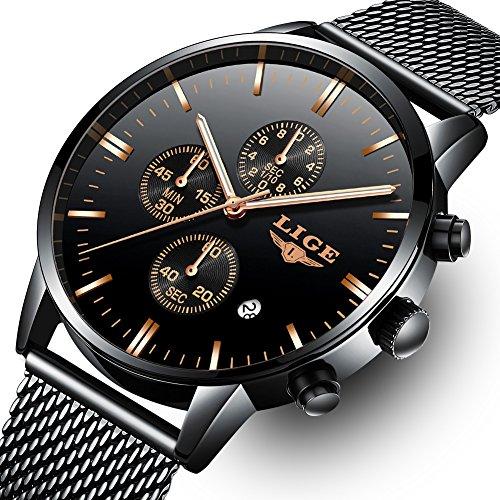 LIGE-Watches-Men-Black-Stainless-Steel-Mesh-Band-Watch-Fashion-Sport-Analog-Quartz-Mens-Watches-Chronograph-Waterproof-Wristwatch