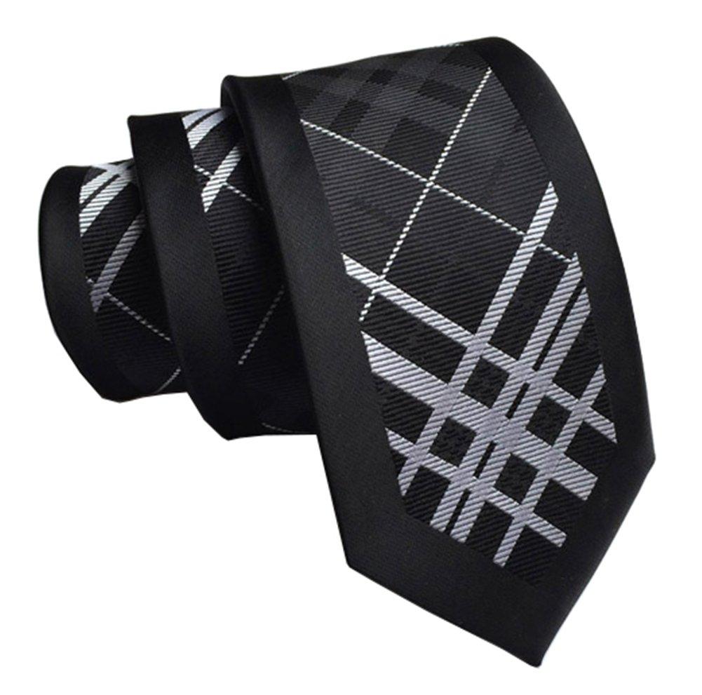 Secdtie Men Skinny Silk Tie Black White Check Jacquard Woven Casual Necktie DW18