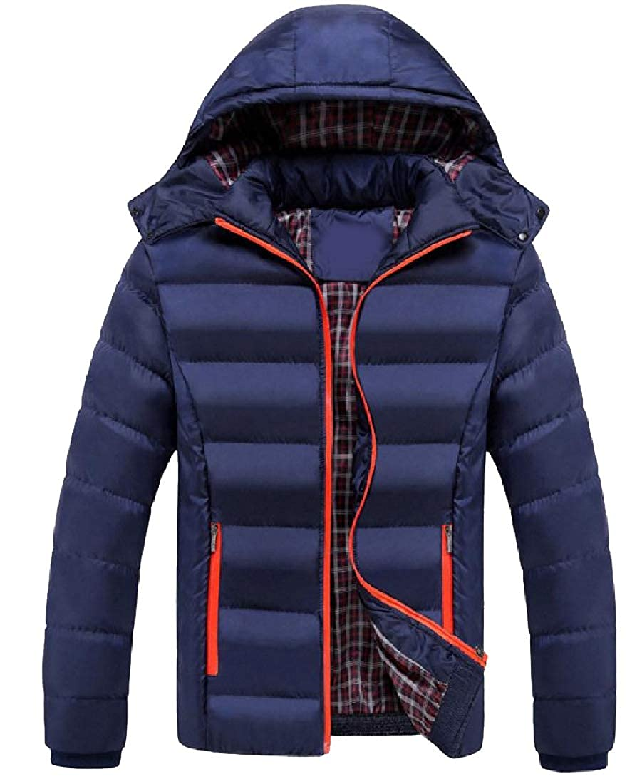 Coolred-Men Chunky Plus Size Stand Collar Quilted Jacket with Hood