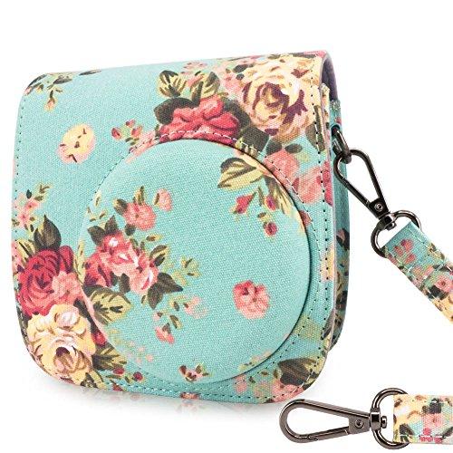 Camera Rose (Wolven Protective Case Bag Purse for Fujifilm Instax Mini 8,Mini 8+,Mini 9 Camera, Green Vintage Rose)