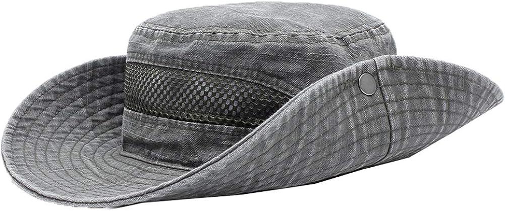 JAOAJ Wide Brim Cotton Sun Hat UV Protection Foldable Beach Hat Breathable Mesh Safari Fishing Hats