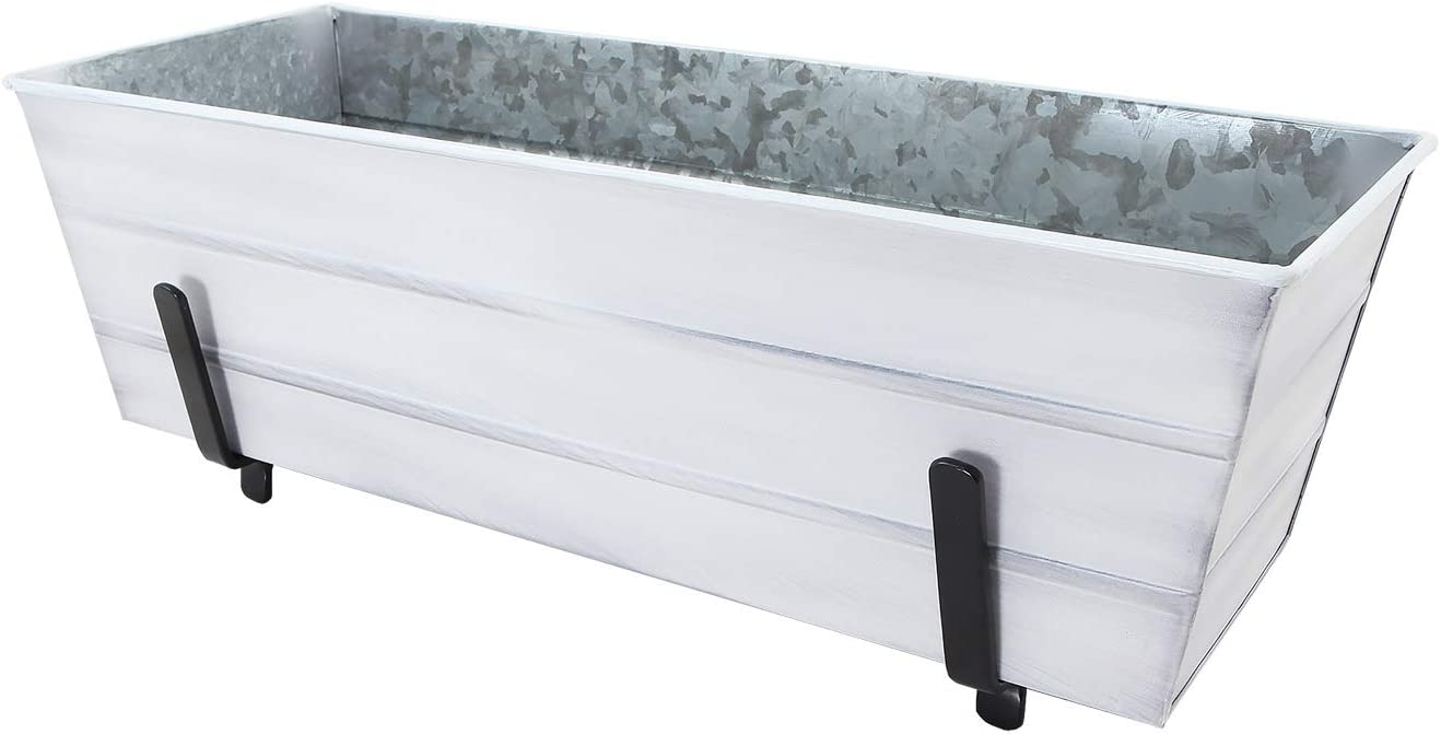 Achla Designs C20W-K6 Medium White Flower 2 x 6 Railings Window Box with Brackets