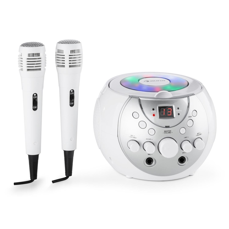schwarz auna SingSing Mobile Karaoke-Anlage Set Kinder Karaoke-Player Multicolor-LED-Lichteffekt, A.V.C-Funktion, CD+G-Medien, Echo-Effekt, Batteriebetrieb, inkl. 2 x dynamisches Mikrofon