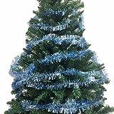 40 Ft x 2.5 Inch Plush Premium Tinsel Christmas Garland - Light Blue