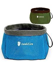 Awakelion Ciotola pieghevole per cani 2 pezzi, vaschetta per animali da viaggio portatile per alimenti e acqua -perfetto per cani di taglia media e grande (2000ML)