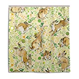 MyDaily Cute Bunny Rabbit Flower Shower Curtain 66 x 72 Inch, Mildew Resistant & Waterproof Polyester Decoration Bathroom Curtain