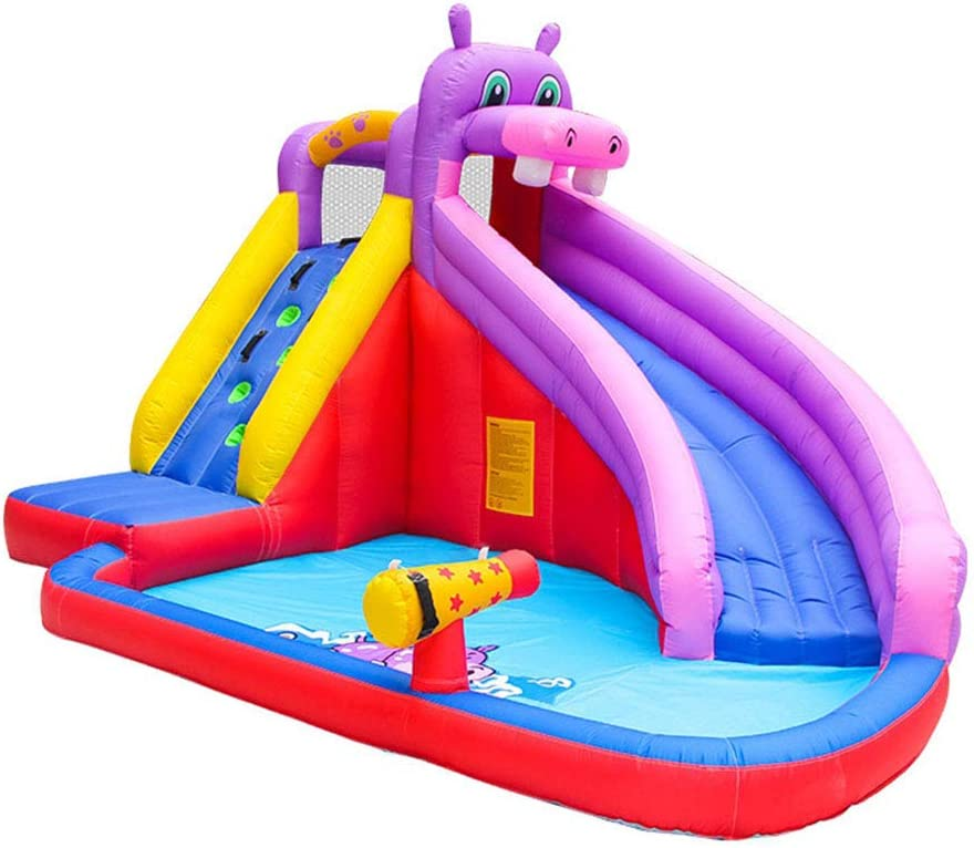 Stakes Tunnel Climb Wall Water Cannon Including Oxford Carry Bag with 450W Air Blower Splash Pool Inflatable Water Slide for Kids Hose Repair Kit Hippo Themed Bouncer Park with Slides