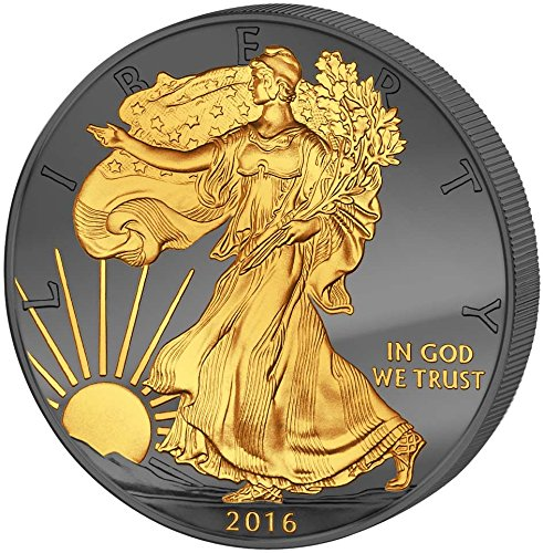 2016 United States Golden Enigma Walking Liberty 30 Years Eagle Premium Edition 1 Oz Silver Coin 1$ Dollar US Mint 2016 BU Brilliant (Numismatics Gold Coins)