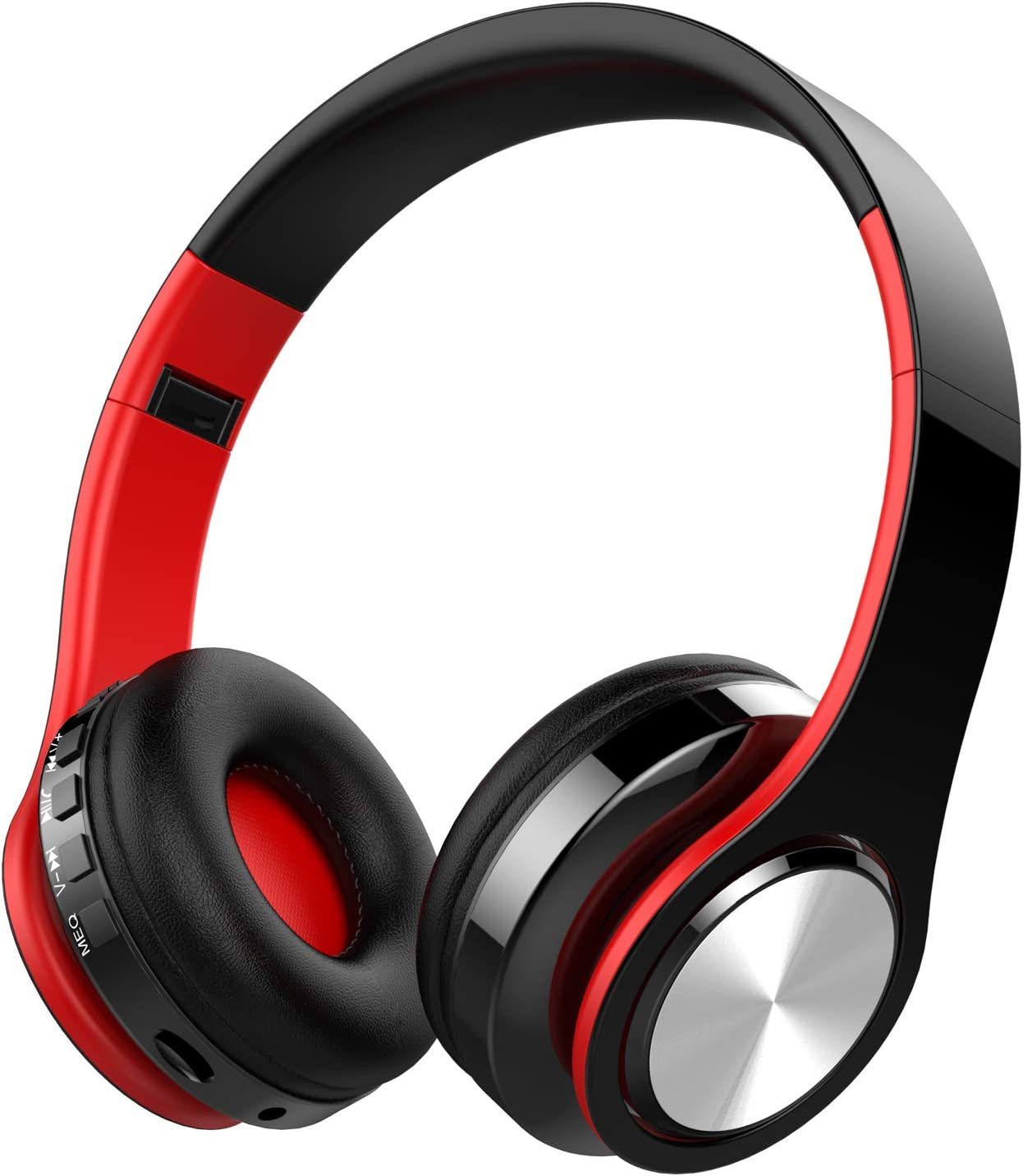 Cascos Bluetooth Inalámbricos, OLTA Auriculares Plegable con Micrófono, Manos Libres, Almohadillas de Protección Cómodo, MicroSD, para iPhone y Android Rojo