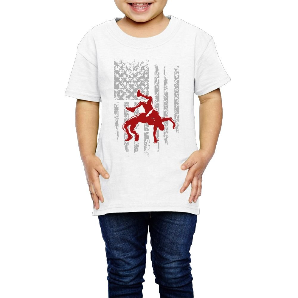 Aiguan Wrestling American Flag Toddler Short Sleeve T-Shirt Cozy Top for Little Boy & Girl White 5-6 Toddler by Aiguan