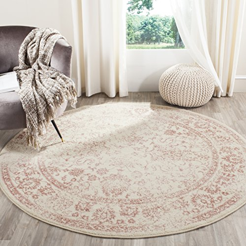 Safavieh Adirondack Collection ADR109H Ivory and Rose Oriental Vintage Distressed Round Area Rug (6' Diameter)