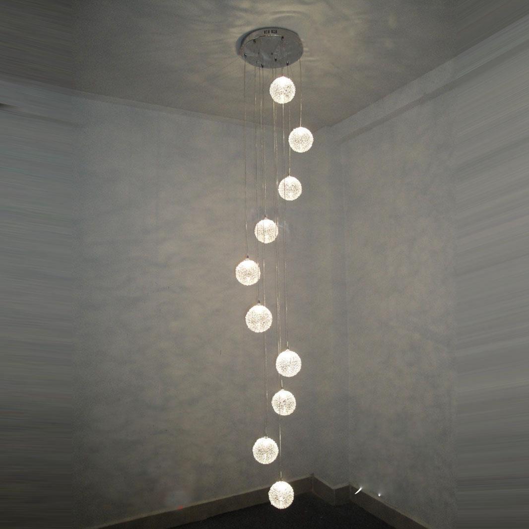 2 M Hhe 10 Leuchten Aluminium Draht Glas Kugeln Treppe Deckenleuchte Pendelleuchte Modern Parlor Wohnzimmer Fashion Kche Esszimmer