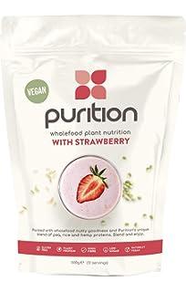 Purition Batido de Proteínas Veganos de Fresa (500g). Batido para el desayuno sin