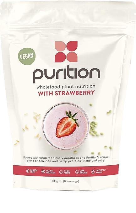 Purition Batido de proteínas veganos de Fresa 500g). Batido para el desayuno sin lácteos