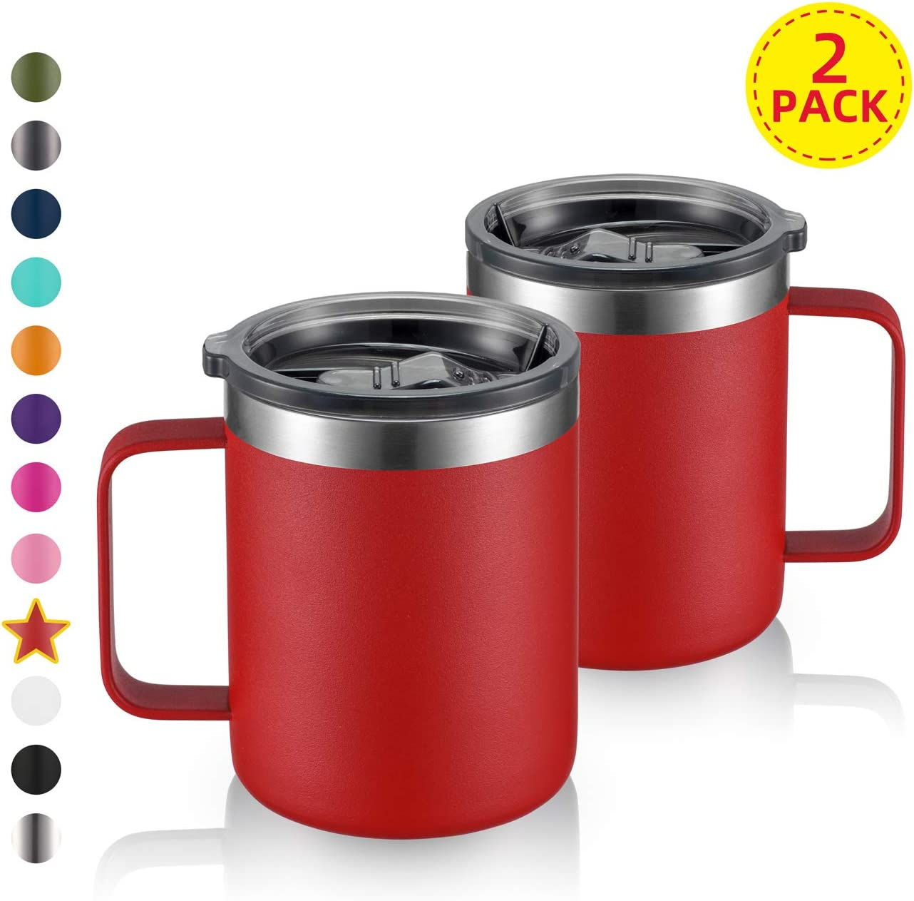 12oz Stainless Steel Insulated Coffee Mug with Handle, Double Wall Vacuum Tumbler Cup with Sliding Lid, Red, 2 Pack