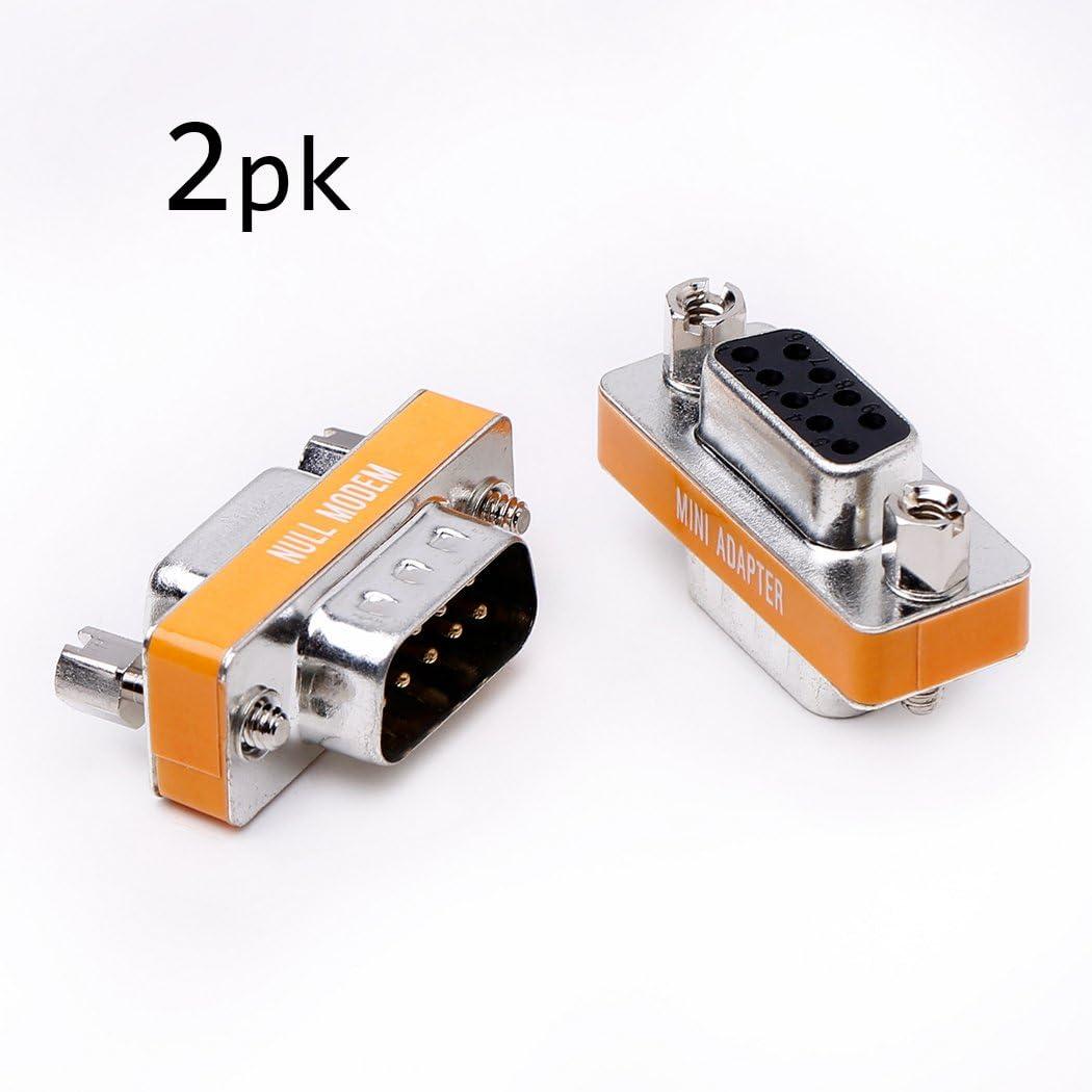 DB9 null modem male to female slimline data transfer serial port adapter 2 Pack