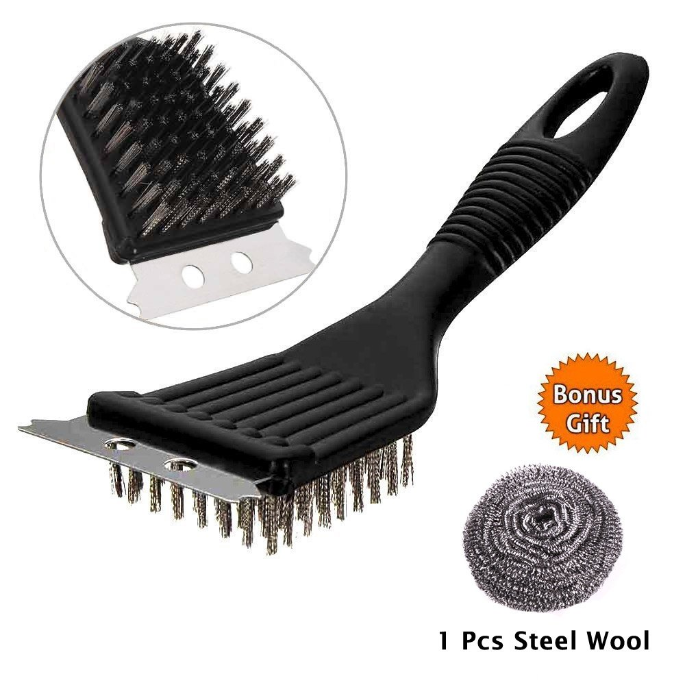 Bolokin BBQ Oven Grill Kitchen Metal Wire Cleaning Brush Scraper Remover Cleaner,2-in-1 Barbecue Cleaning Tools,Steel Wire Grill Brush Cooking Brass Scraper Griddle