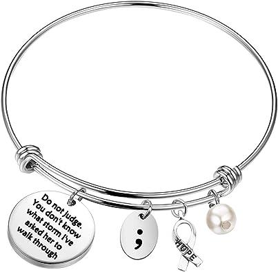 Black Mental Health bracelet with a semicolon charm