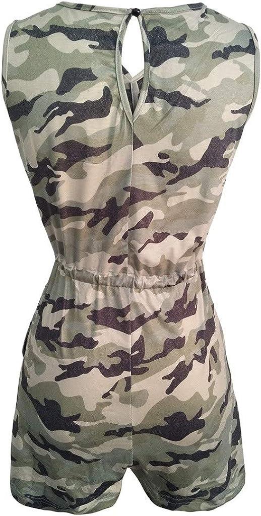 kemilove Women Sleeveless Camo Print Krawatte Waist Slim Loose Long Pants Jumpsuits Rompers Overall