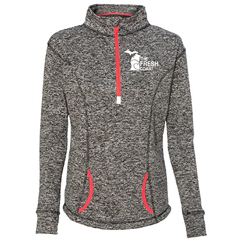 (LivnFresh Women's Michigan Fresh Coast Quarter Zip Performance Sweatshirt Charcoal Fleck/Fire Coral Large)