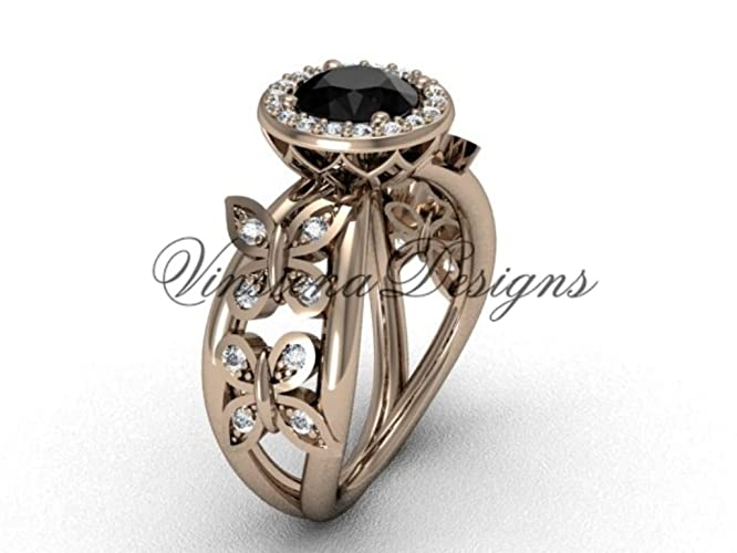 80340a638aff9 Amazon.com: 14kt rose gold butterfly engagement ring, Black Diamond ...