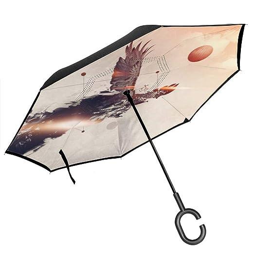 Csiemns Eagle Paraguas invertido invertido al revés ...