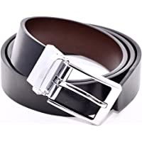 Reversible Belt, Black Leather One Side, Brown the Other, Chrome Twist Mechanism Buckle, 34mm Wide, Nicely Gift Boxed, Smart or Casual to Fit Waists 32'' to 48''