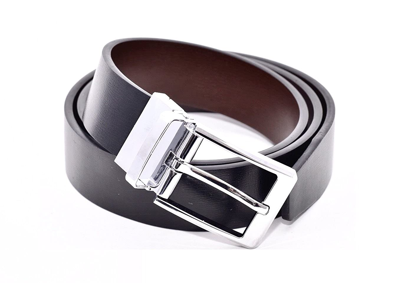 703aac976 Reversible Belt, Black Leather One Side, Brown the Other, Chrome Twist  Mechanism Buckle, 34mm Wide, Nicely Gift Boxed, Smart or Casual to Fit  Waists 32'' to ...