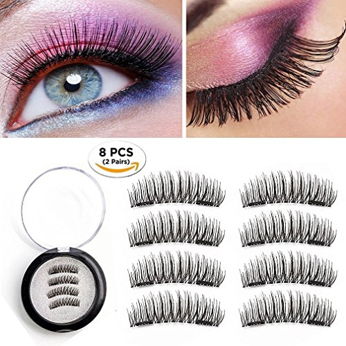 3d Magnet (Magnetic Eyelashes 2 Pairs Dual Magnetic False Eyelashes No Glue 3D Reusable Fake Magnet Eyelashes 0.2MM Ultra Thin Handmade Fake lashes for Ultra Soft Natural Look Seconds to Apply (2 Pairs 8 Pieces))