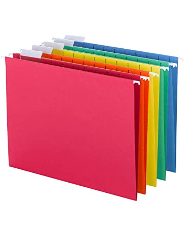 Smead Hanging File Folder with Tab, 1/5-Cut Adjustable Tab, Letter Size, Assorted Primary Colors, 25 Per Box (64059)