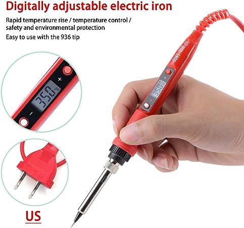 NEWACALOX EU US 60W Adjust Temp Digital Multimeter Soldering Iron Kit 220v 110v