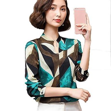 UvtNTx Women V-Neck Shirt Top Long Sleeve Printed Chiffon Casual