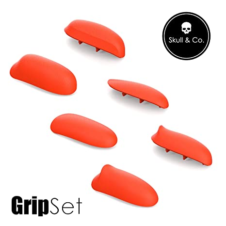Skull & Co. Interchangeable Grips Set: Snap/Trigger Grips/Plus Grips [to fit All Hands Sizes] for Nintendo Switch [3 Pairs]- Double Neon Red