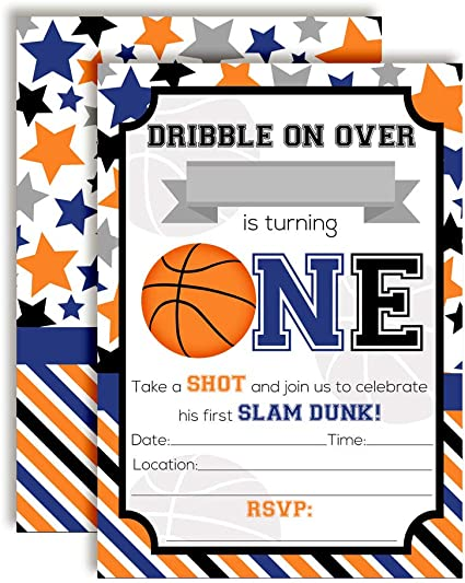 Amazon Com Slam Dunk 1st Birthday Basketball Themed Birthday Party Invitations For Boys 20 5 X7 Fill In Cards With Twenty White Envelopes By Amandacreation Toys Games