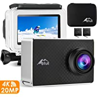 """BFULL 4K Action Camera WiFi 20MP - Waterproof Sports Camera Ultra HD 30M Underwater Camcorder with 2.45"""" Touchscreen EIS Anti-shake 170° Sony Sensor, 2 Batteries,Carrying Bag,Mounting Accessories"""