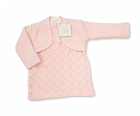 05e5a6b9c36d Baby Girls 2 Piece Pink Knitted Dress   Cardigan Set (6-9 Months ...