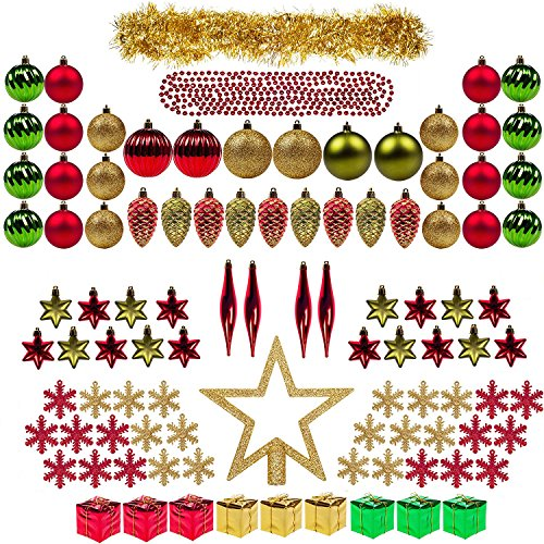 Christmas Tree Decorations - ITART 100ct Christmas Tree Ornaments Decorations Assortment including Tree Topper Balls Snowflakes Stars Pine Cones Miniature Gift Boxes Tinsel and Beads Garlands Finial (Red, Gold and Green)