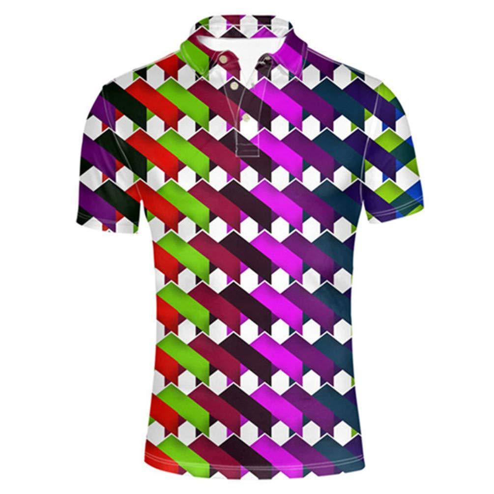 OTNZQZYF Polo Shirt Men Tops Tees Short Sleeve Mens Solid Summer Print 3D Patchwork