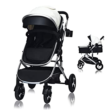 Buggy Stroller Toddler Lightweight Pushchair Kids Four Wheel Pushchair with One Hand Fold Adjustable Backrest Buggy with Lying Position with Safe Five-Point Harness and Brake Small Foldable