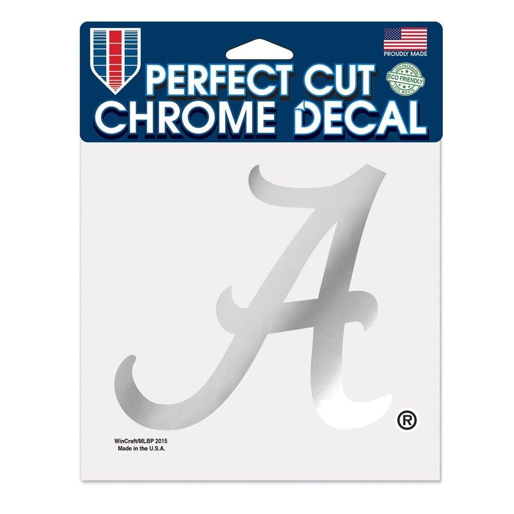 WinCraft NCAA University of Alabama Chrome Perfect Cut Decal 6 x 6 Black