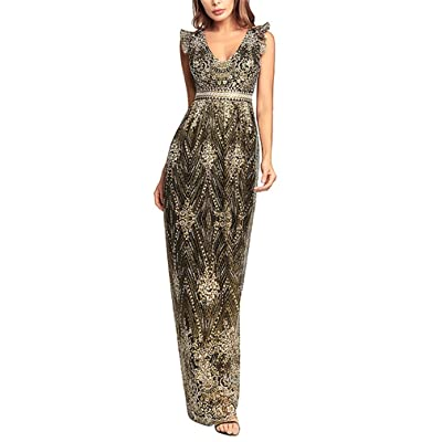 SKIRTT Gold Sequined Long Evening Backless Sleeveless Dress Lace Edge Evening Party Club New