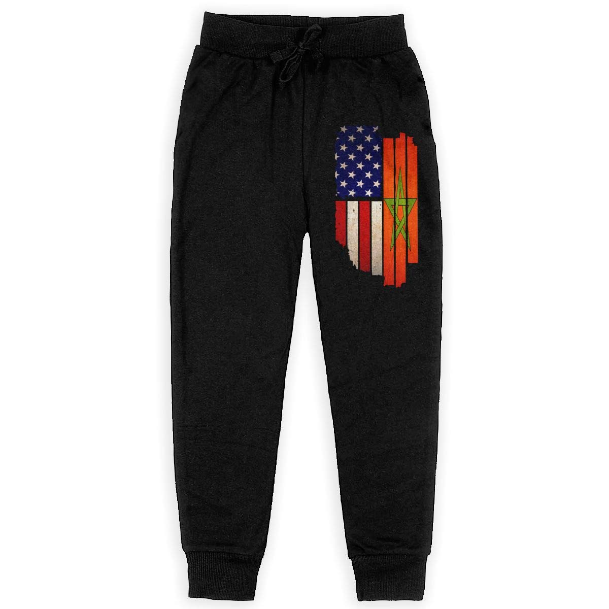 Boys Athletic Pants for Teen Girls Vintage USA Morocco Flag Soft//Cozy Sweatpants