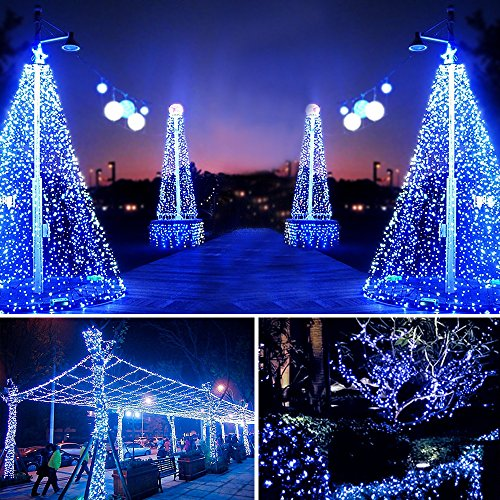 Hardwired Outdoor String Lights : Solarmks 150 LED Bendable Copper Wired Solar Powered Waterproof Starry String Lights with 8 ...