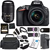Nikon D5600 DSLR Camera with 18-55mm VR AF-P Lens (Black) 1576 + Sony 128GB SDXC Card + Mini HDMI Cable + Carrying Case + Remote + Memory Card Wallet + Card Reader Bundle