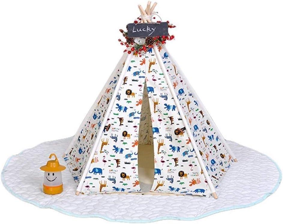 綿洗えるキャンバス家庭用テント円錐テント巣猫ウサギ動物犬ベッドクッション付き小さな黒板家の装飾ペット用品 (設計 : B)  B