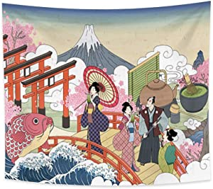 Renaiss 70.9x63 Inches Ukiyo-E Exotic Tapestry Trippy Kio Ocean Wave Fuji Mount Japanese Lady Cherry Blossoms Wall Hanging Japanese Traditional Culture Wall Art Mural for Bedroom Dorm Home Decor